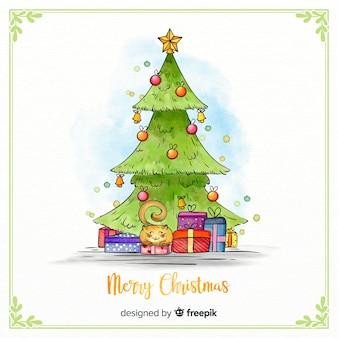 Decoratieve aquarel kerstboom