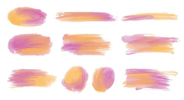 Decoratieve aquarel penseelstreken vormen set