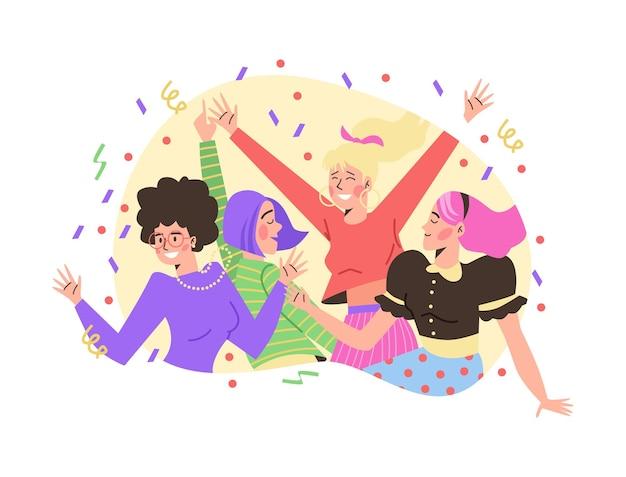 Decoratieve banner met jonge vrolijke vrouwen platte vectorillustratie geïsoleerd