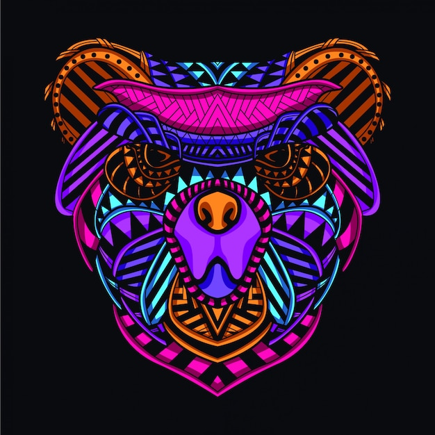 Decoratieve berenkop van glow neon kleur
