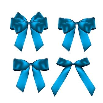 Decoratieve blauwe strik collectie set