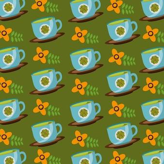 Decoratieve bloem in kopjes thee tijd patroon