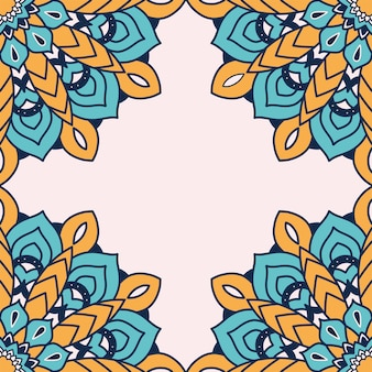 Decoratieve bloemen kleurrijke mandala frame illustratie