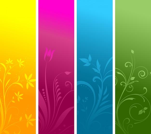 Decoratieve bloemen panelen in vier heldere kleuren