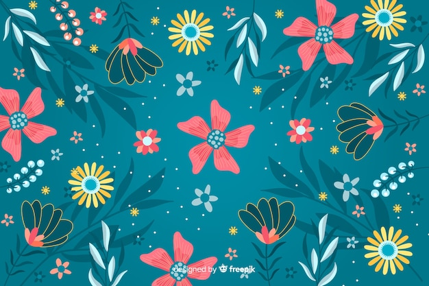 Decoratieve bloemen platte ontwerpachtergrond