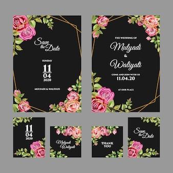 Decoratieve bloemen versiering bruiloft uitnodiging sjabloon