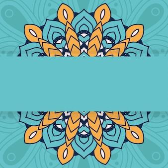 Decoratieve bloemenmandala met groen achtergrond vectorillustratieontwerp