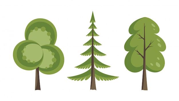 Decoratieve bomen instellen. vlakke bomen in een plat ontwerp. geïsoleerd