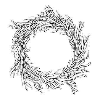 Decoratieve botanische krans in inktstijl, rond frame met bladeren. hand getekende vectorillustratie