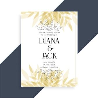 Decoratieve bruiloft kaart uitnodiging sjabloonontwerp