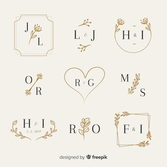 Decoratieve bruiloft monogram set Premium Vector