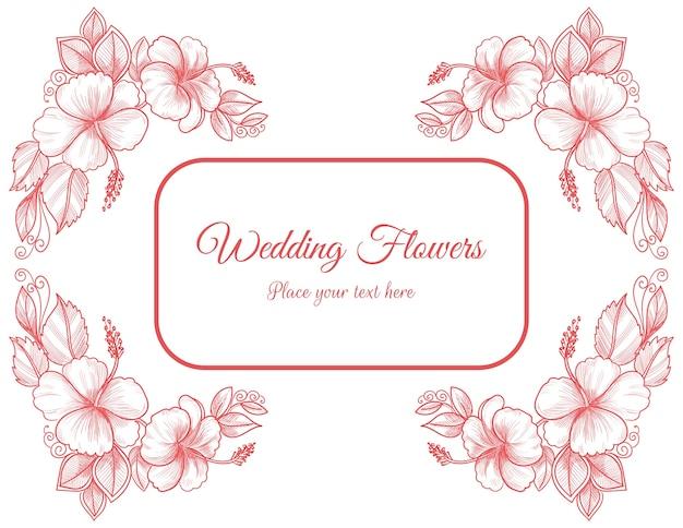 Decoratieve bruiloft roze bloemen kaart