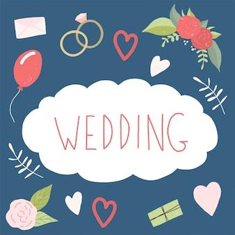 Decoratieve bruiloftscollectie. liefde bloemen bruiloft set