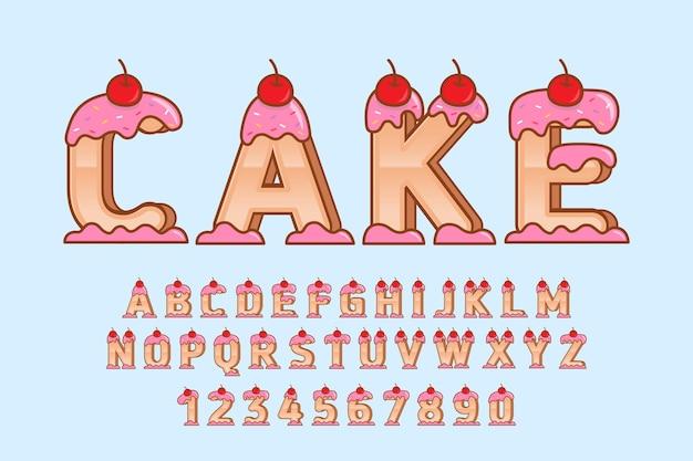 Decoratieve cake lettertype en alfabet