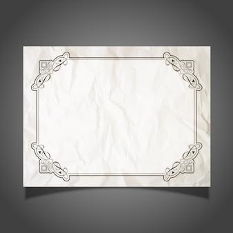 Decoratieve certificaat design met een verfrommeld papier achtergrond