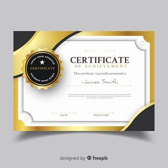 Decoratieve certificaatsjabloon met gouden elementen