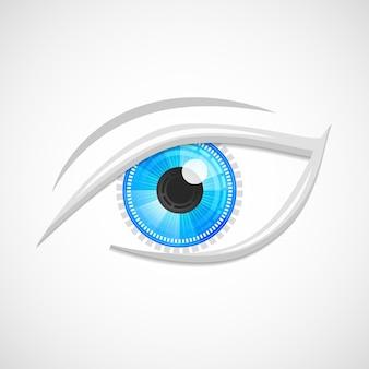 Decoratieve cyber robot digitale hi-tech kijk visie optische embleem geïsoleerd vector illustratie.