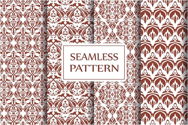 Decoratieve damastpatroon set. vintage ornament, barokke bloemen en zilveren venetiaanse sierlijke bloemenornamenten naadloze achtergrond