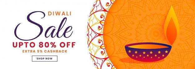 Decoratieve diwali festival verkoop banner in oranje stijl