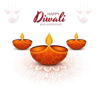 Decoratieve diwali olielamp festival vakantie achtergrond