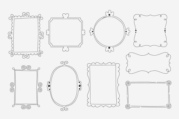 Decoratieve doodle frame-collectie