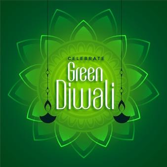 Decoratieve eco groene diwali achtergrond