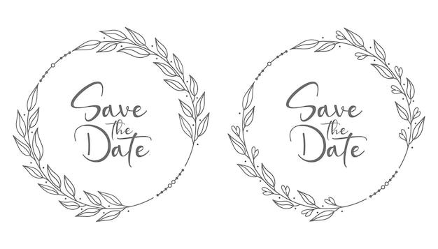 Decoratieve en natuur bloemen bruiloft badges illustratie