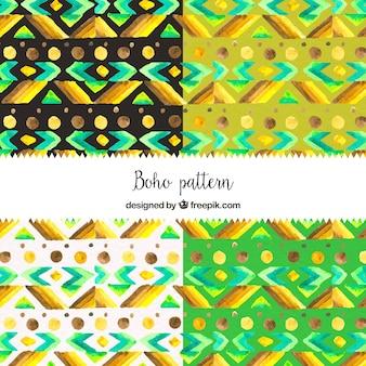 Decoratieve etnische aquarel patronen