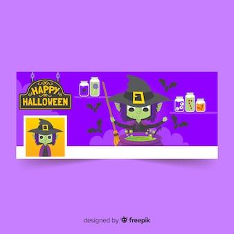 Decoratieve facebookbanner met halloween-ontwerp
