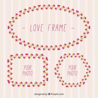 Decoratieve frames met kleine hartjes