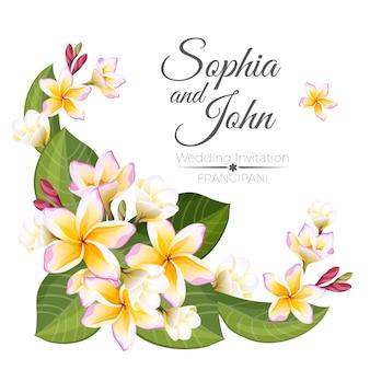 Decoratieve frangipanibloemen van de uitnodigingskaart