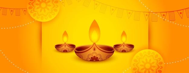 Decoratieve geeloranje diwali-webbanner