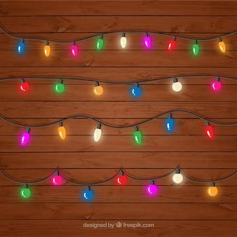 Decoratieve gekleurde lichtslingers ingesteld