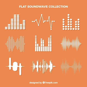 Decoratieve geluidsgolven in plat ontwerp