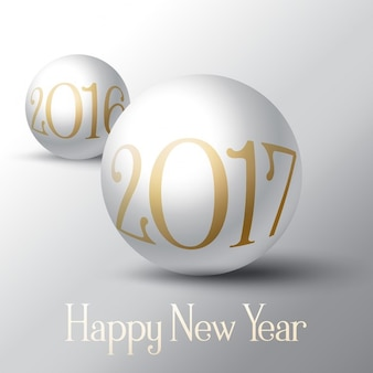 Decoratieve gelukkig nieuwjaar achtergrond met bol ontwerp