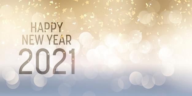 Decoratieve gelukkig nieuwjaar banner met bokeh lichten en confetti ontwerp
