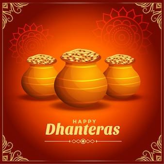 Decoratieve gelukkige dhanteras festivalkaart met gouden muntenpot