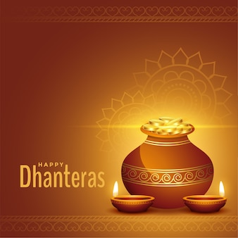 Decoratieve gelukkige dhanteras gouden achtergrond met kalash en diya