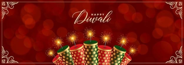 Decoratieve gelukkige diwali-crackers rode banner