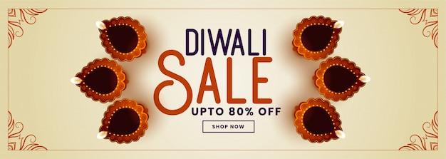 Decoratieve gelukkige diwali verkoopbanner