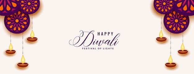 Decoratieve gelukkige diwali witte banner met diya-ontwerp