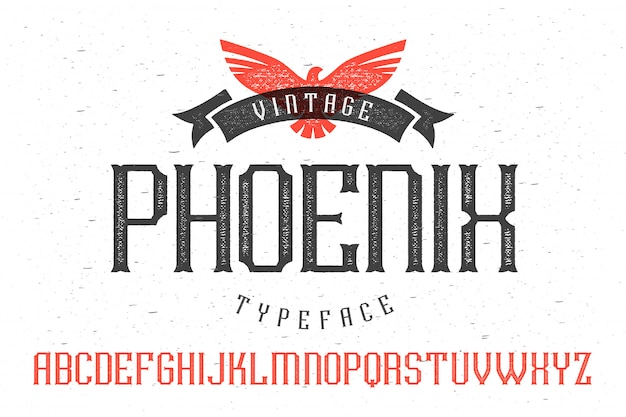Decoratieve getextureerde lettertypeset