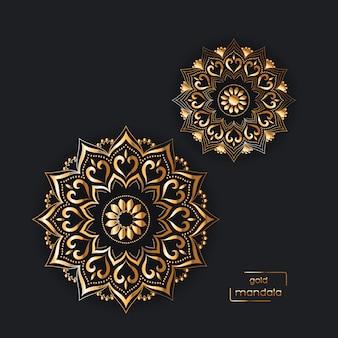 Decoratieve gouden kaart met twee oosterse bloemen mandala's op zwart