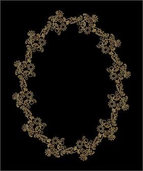 Decoratieve gouden krans met bloemmotieven. zomer gouden frame met bloemen en bladeren. vector geïsoleerde illustratie.