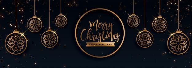 Decoratieve gouden vrolijke kerstmis decoratieve banner