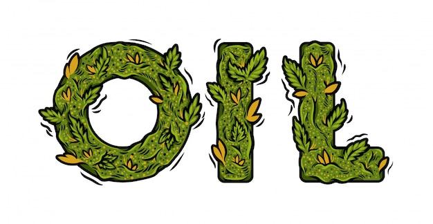 Decoratieve groene marihuana lettertype met geïsoleerde letters