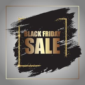 Decoratieve grunge black friday-verkoop met glitterrand
