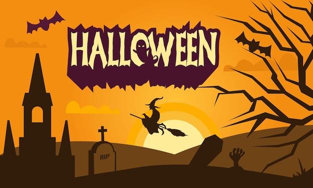 Decoratieve halloween-achtergrond handgetekende stijl