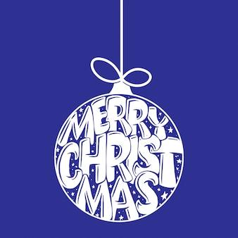 Decoratieve hand getrokken belettering in christmas ball. handgeschreven zin merry christmas