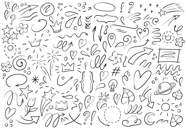 Decoratieve handgetekende vormen. overzicht kroon, doodle aanwijzer en hart frame. doodles lijnen elementen illustratie set